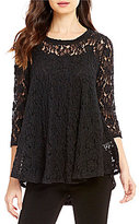 IC Collection Lace 3/4 Sleeve Swing Top