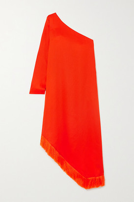 Mother of Pearl Gwen One-sleeve Asymmetric Fringed Lyocell Midi Dress - Orange