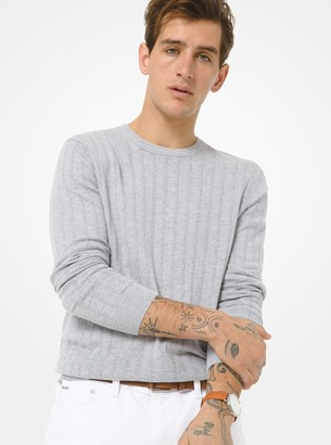 Michael Kors Textured Cotton and Cashmere Sweater
