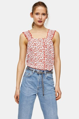 Topshop Womens Ivory And Red Ditsy Print Button Cami - Ivory