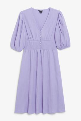 Monki Shirred V-neck dress
