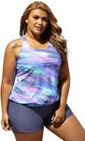 justbuy-us Women Two Piece Print Blouson Tankini with Black Swim Bottom Swimsuit swimwear