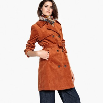 La Redoute Collections Belted Corduroy Trench Coat