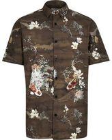 River Island MensBrown koi print shirt