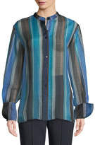 Diane von Furstenberg Wide-Sleeve Striped Silk Button-Up Top