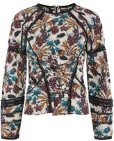 Topshop Lace Corset Long Sleeved Top