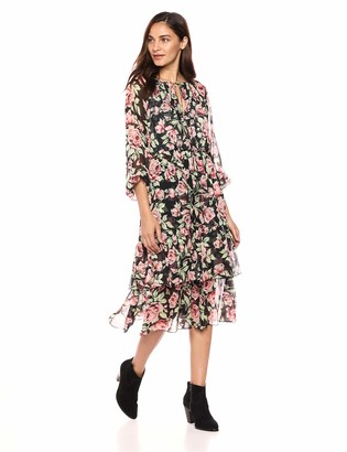 The Kooples Women's Women's Floral V-Neck Maxi Dress with Tiered Skirt