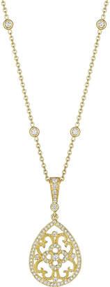 Penny Preville 18k Yellow Gold Diamond Lace Pear Shape Enhancer On Plain Chain