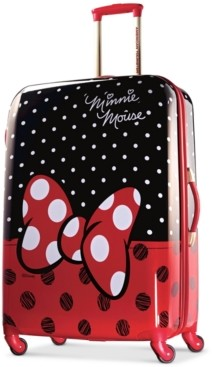 """American Tourister Disney Minnie Mouse Red Bow 28"""" Hardside Spinner Suitcase"""