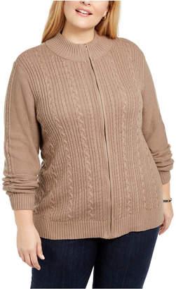 Karen Scott Plus Size Cable Knit Cardigan Sweater