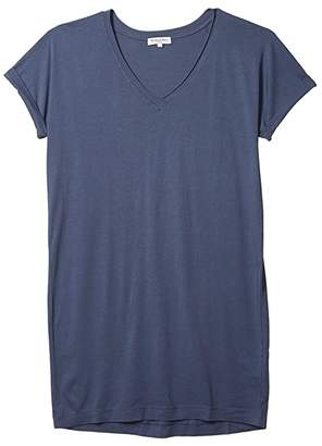 Michael Stars Cara Cotton Modal V-Neck Tee Dress (Lake) Women's Clothing
