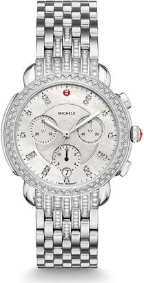Michele 38mm Sidney Steel Diamond Chronograph Bracelet Watch