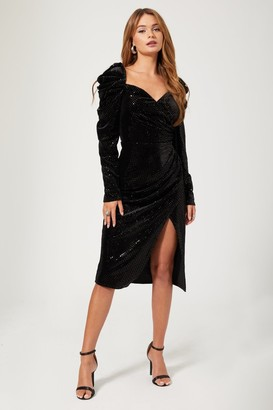 Girls On Film Zadie Black Velvet Foil Spot Puff Sleeve Midi Dress
