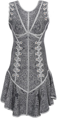 Herve Leger Cathryn Lace-up Jacquard-knit Dress