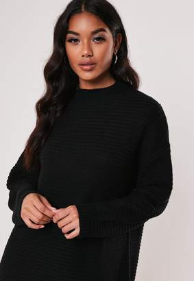 Missguided Black High Neck Ribbed Knitted Dress