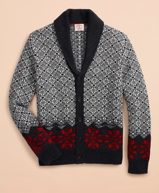 Brooks Brothers Nordic-Pattern Shawl-Collar Cardigan