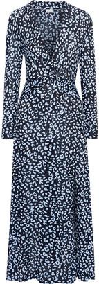 Rixo Anja Twist-front Leopard-print Silk-blend Jersey Maxi Dress