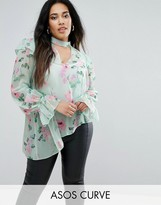 Asos Floaty Blouse In Mint Floral With Neck Band
