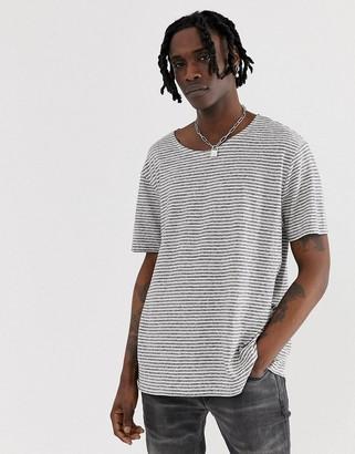 AllSaints oversized stripe t-shirt with linen mix-White