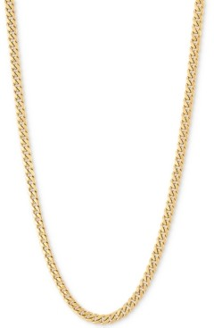 """Italian Gold Miami Cuban Link 22"""" Chain Necklace (3mm Hollow) in 14k Gold"""