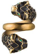 Gucci Tiger Head Ring With Black Enamel And Crystals