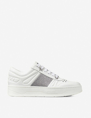 Jimmy Choo Hawaii logo-lace leather trainers