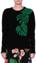 Valentino Cashmere Palm Intarsia Pullover Sweater