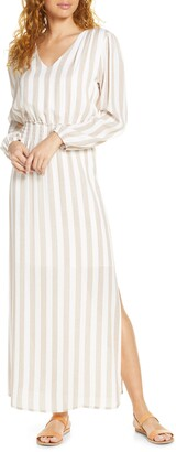 Fraiche by J Smocked Waist Long Sleeve Maxi Dress