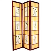 Oriental Furniture Unique Home Decor 6-Feet Herbal Floral Shoji Privacy Screen Room Divider