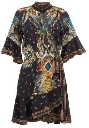 Camilla Mother Nature-print Silk Wrap Dress - Black Print