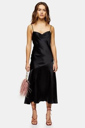Topshop Womens Petite Black Ruched Side Bias Slip Dress - Black