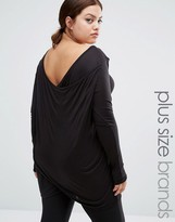 Junarose Long Sleeve Jersey Top With Drape Back