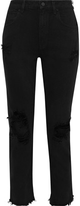 Alexander Wang Zip-detailed Distressed Mid-rise Straight-leg Jeans
