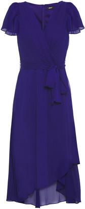 DKNY Asymmetric Wrap-effect Georgette Midi Dress