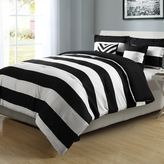 Graphic Stripe 4-Piece Reversible Twin/Twin XL Comforter Set in Black/White