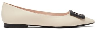 Roger Vivier Gommetine Point-toe Leather Ballet Flats - White Black