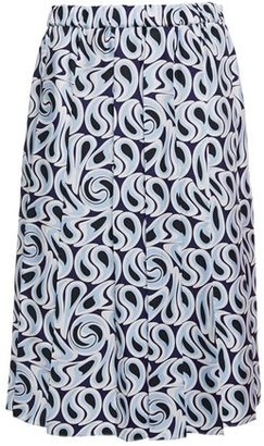 Marni Pleated Printed Silk-twill Skirt