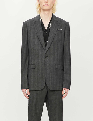 AllSaints Foxley checked wool-blend jacket