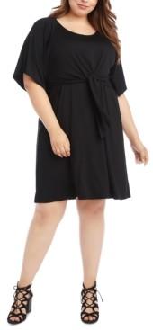 Karen Kane Plus Size Tie-Front A-Line Dress