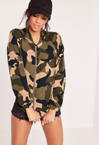 Missguided Crepe Camo Bomber Jacket Camo