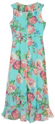 London Times Floral Ruffle Trim Midi Dress (Petite)