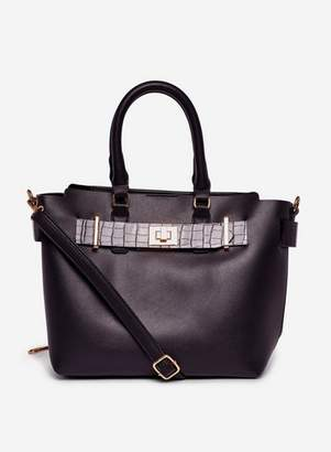 Dorothy Perkins Womens Black Belted Tote Bag, Black