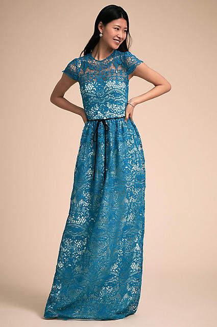 Anthropologie Azure Wedding Guest Dress