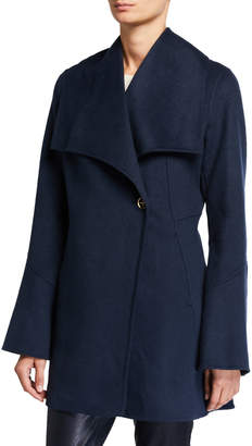 Laundry by Shelli Segal Draped-Front One-Button Wool Pea Coat