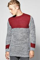 Boohoo Longline Panelled Sweater In Mixed Colour