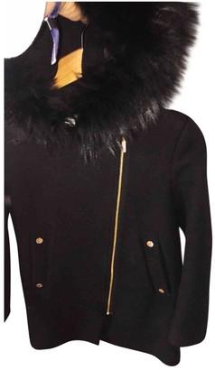 Gerard Darel Black Rabbit Coat for Women