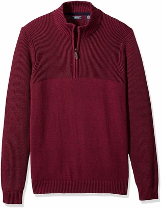 Izod Men's Big Newport Marled Quarter Zip 7 Gauge Textured Sweater