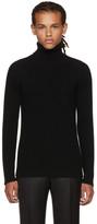 Brioni Black Ribbed Cashmere Turtleneck