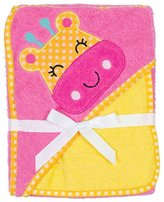 Baby Gear Giraffe Hooded Baby Bath Towel Wrap and Washcloth Set in Pink and Yellow