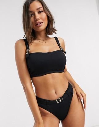 Pour Moi? Pour Moi Fuller Bust Sol Beach underwired rib crop bikini top in black